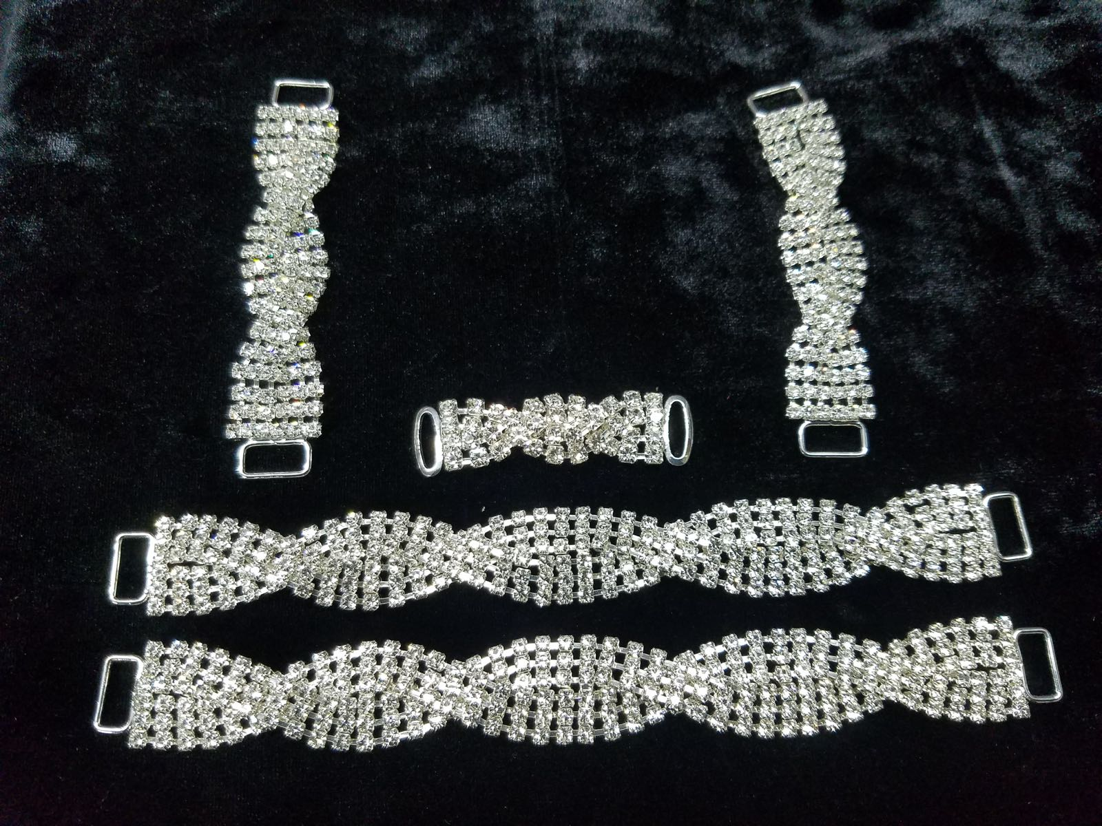 Set C, Silver with clear crystals, $75.00