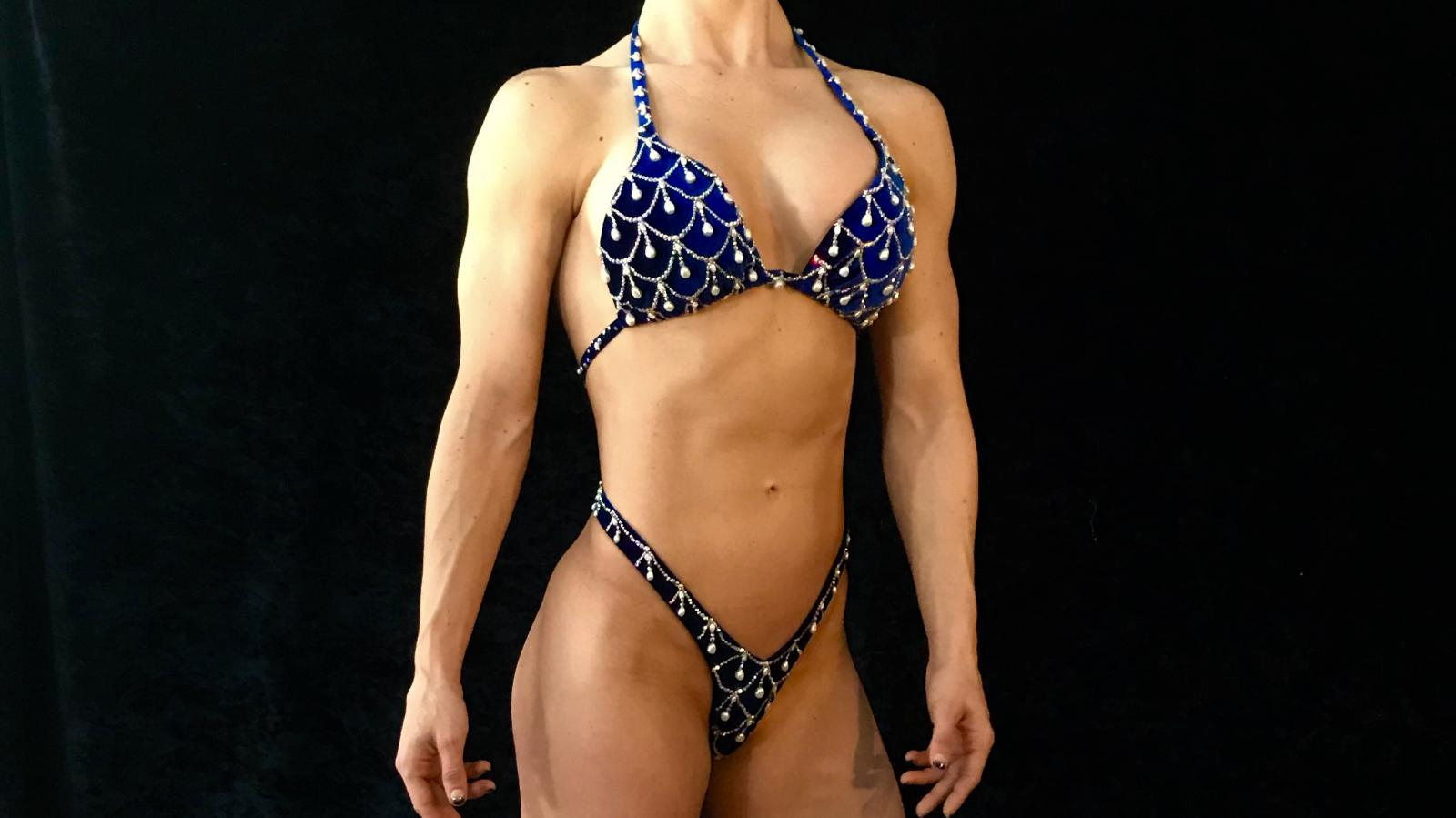 Royal Blue Chandelier Two-Piece Competition Suit by Merry Christine Bodywear