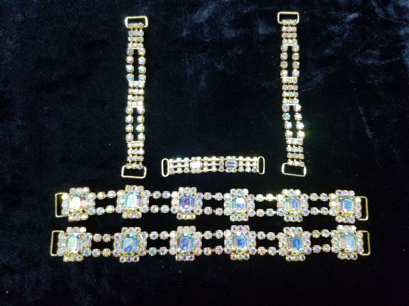 Set I, Silver with clear aurora borealis crystals, $65.00