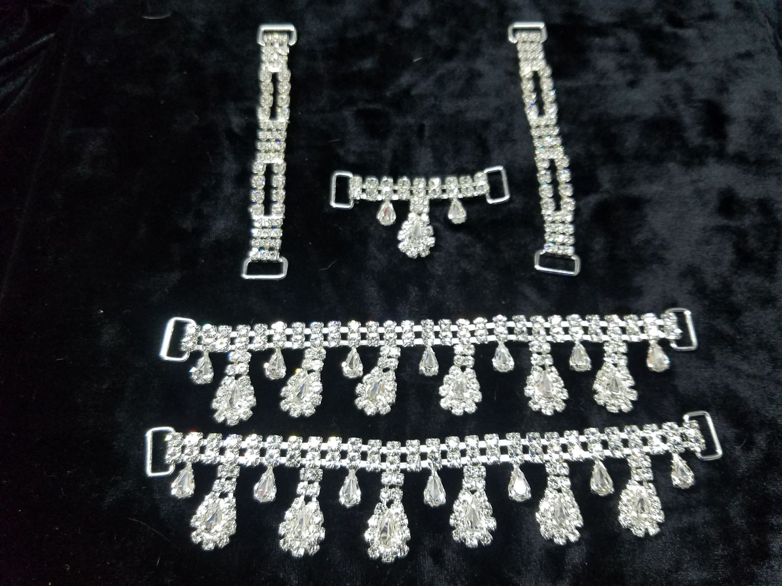 Set B, Silver with clear crystals, $85.00