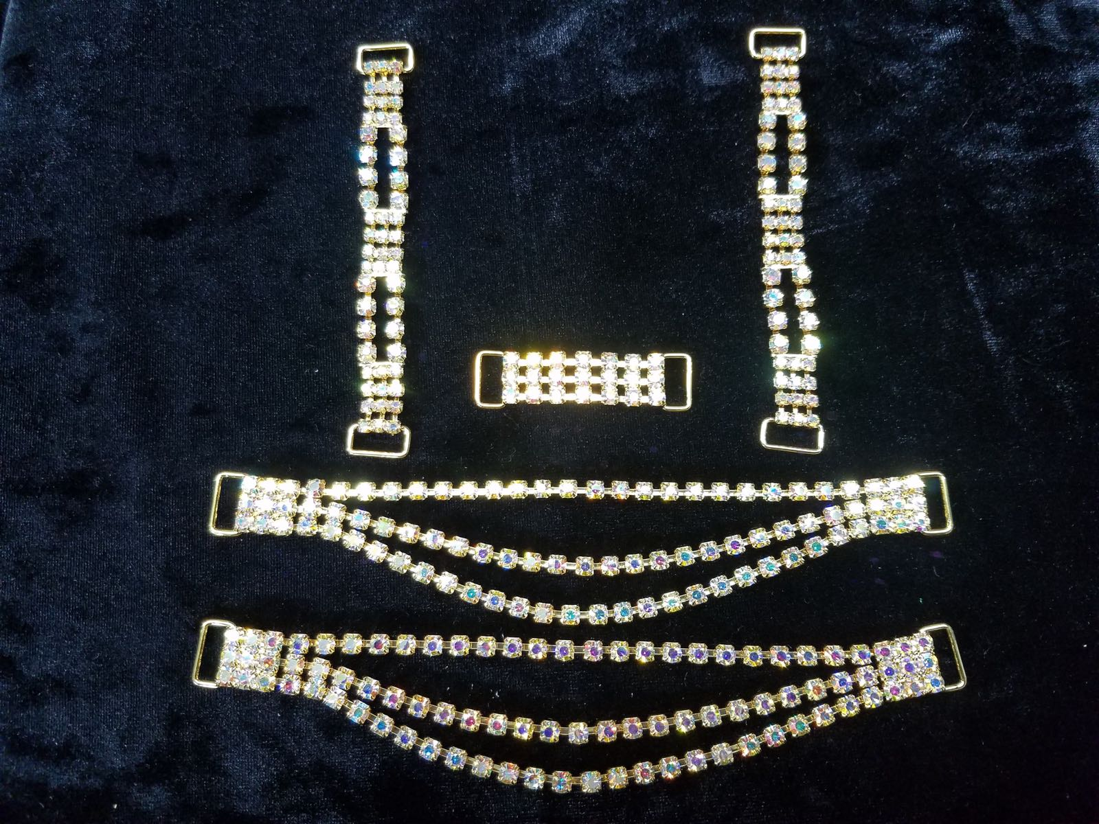 Set J, Gold with clear aurora borealis crystals, $45