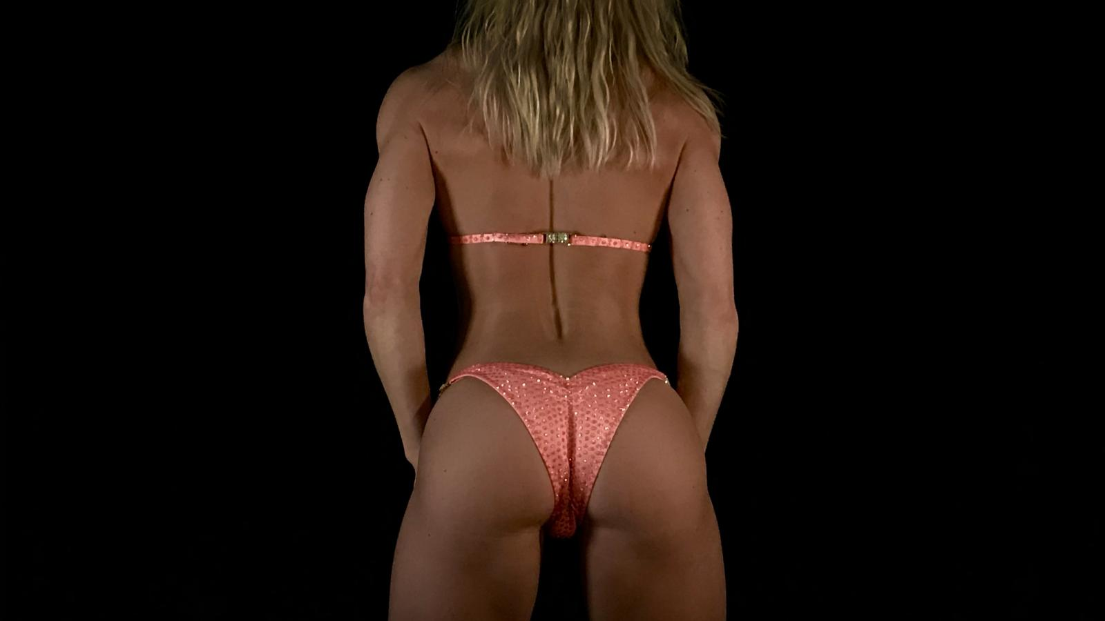 Penelope Peach Bikini Competition Suit by Merry Christine Bodywear (back view)