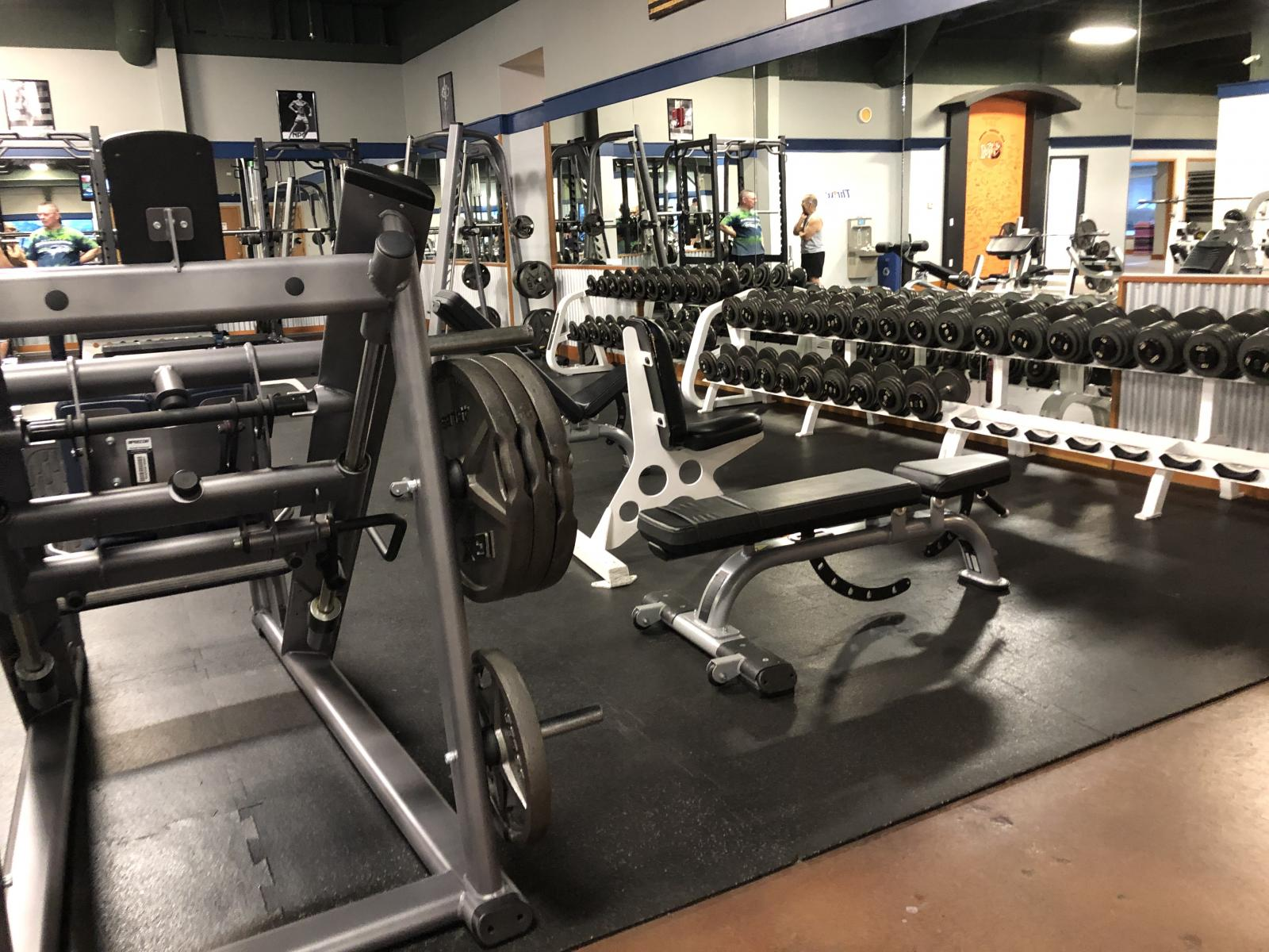 Free weights in a gym