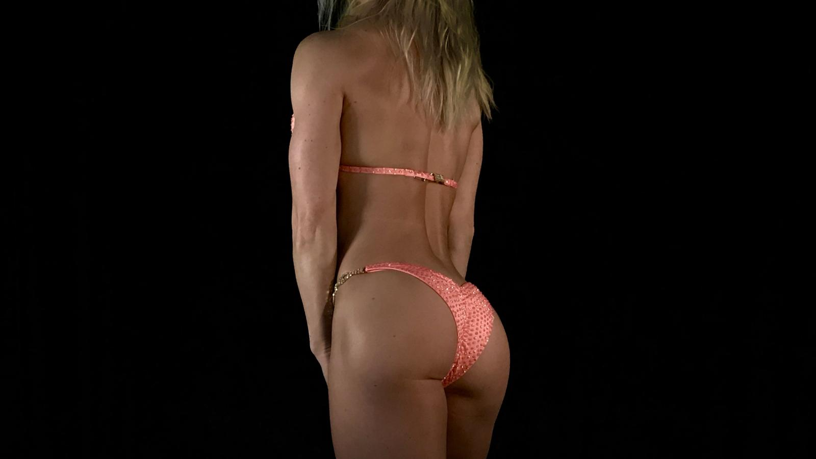Penelope Peach Bikini Competition Suit by Merry Christine Bodywear (side view)