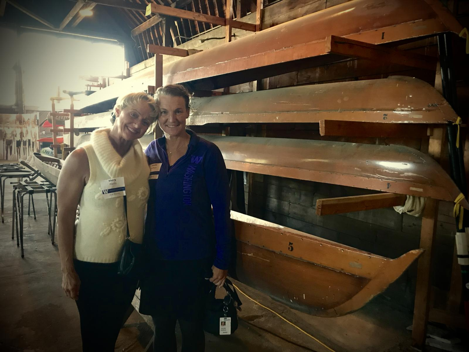 Merry Christine Harris and Jennifer Huffman in the University of Washington crew boat house at the Boys of '36