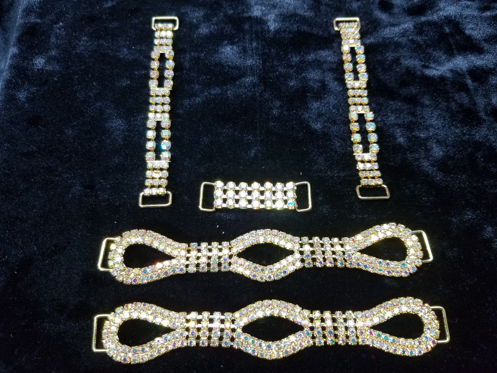 Set E, Gold with clear aurora borealis crystals, $65.00