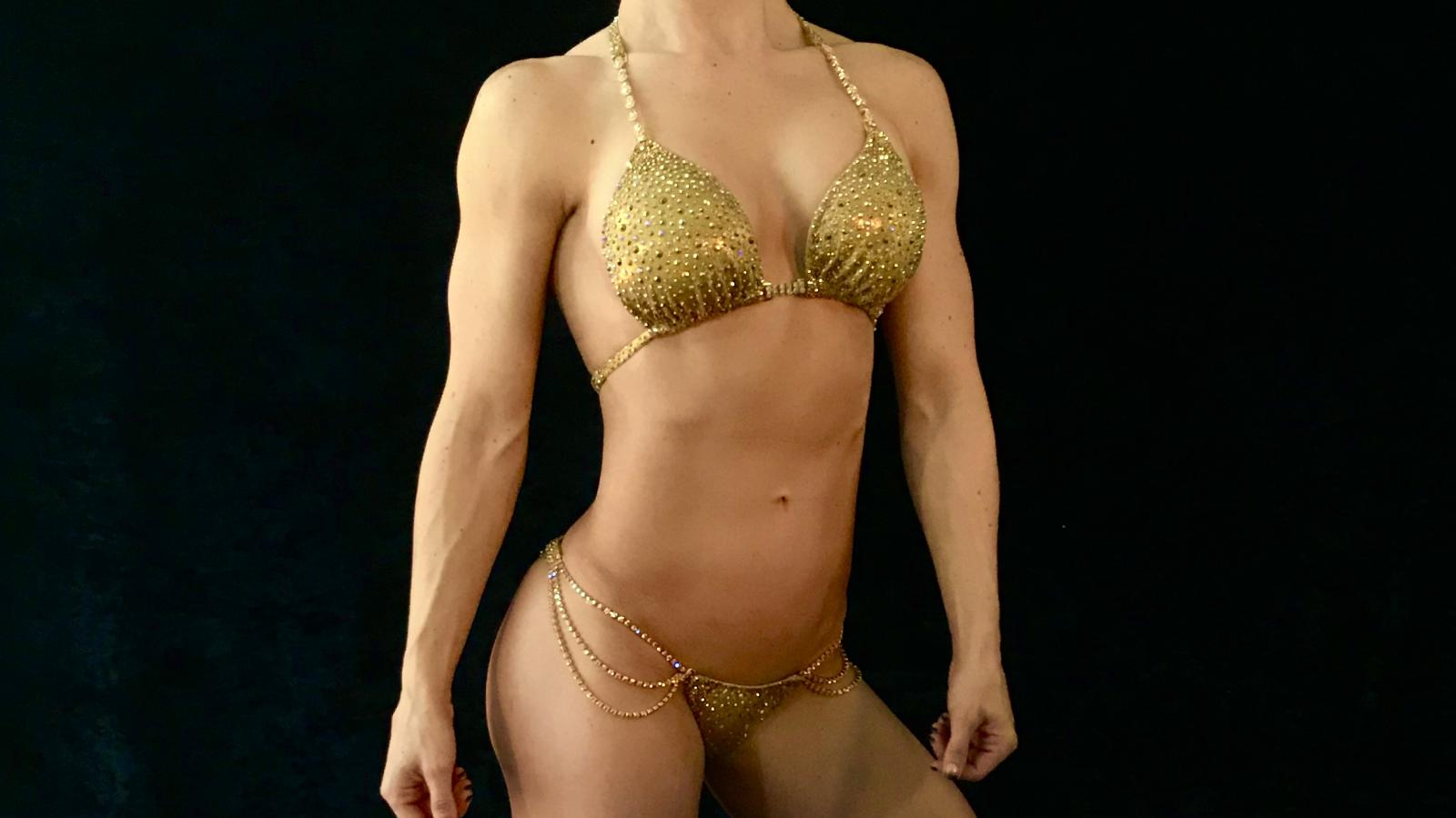 Egyptian Gold Galaxy Bikini Competition Suit by Merry Christine Bodywear