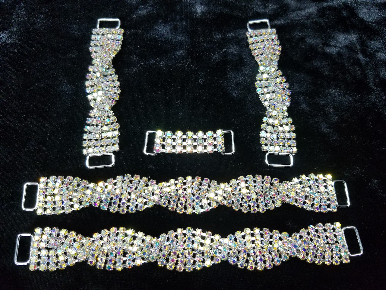 Set C, Silver with clear aurora borealis crystals, $75.00