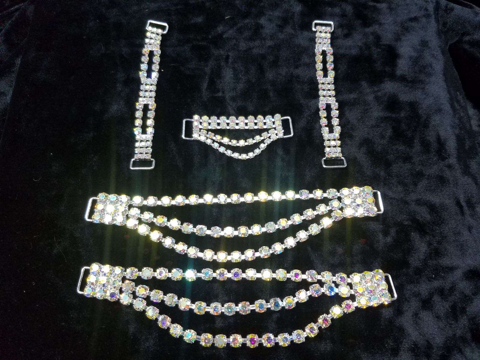 Set K, Silver with clear aurora borealis crystals, $65.00