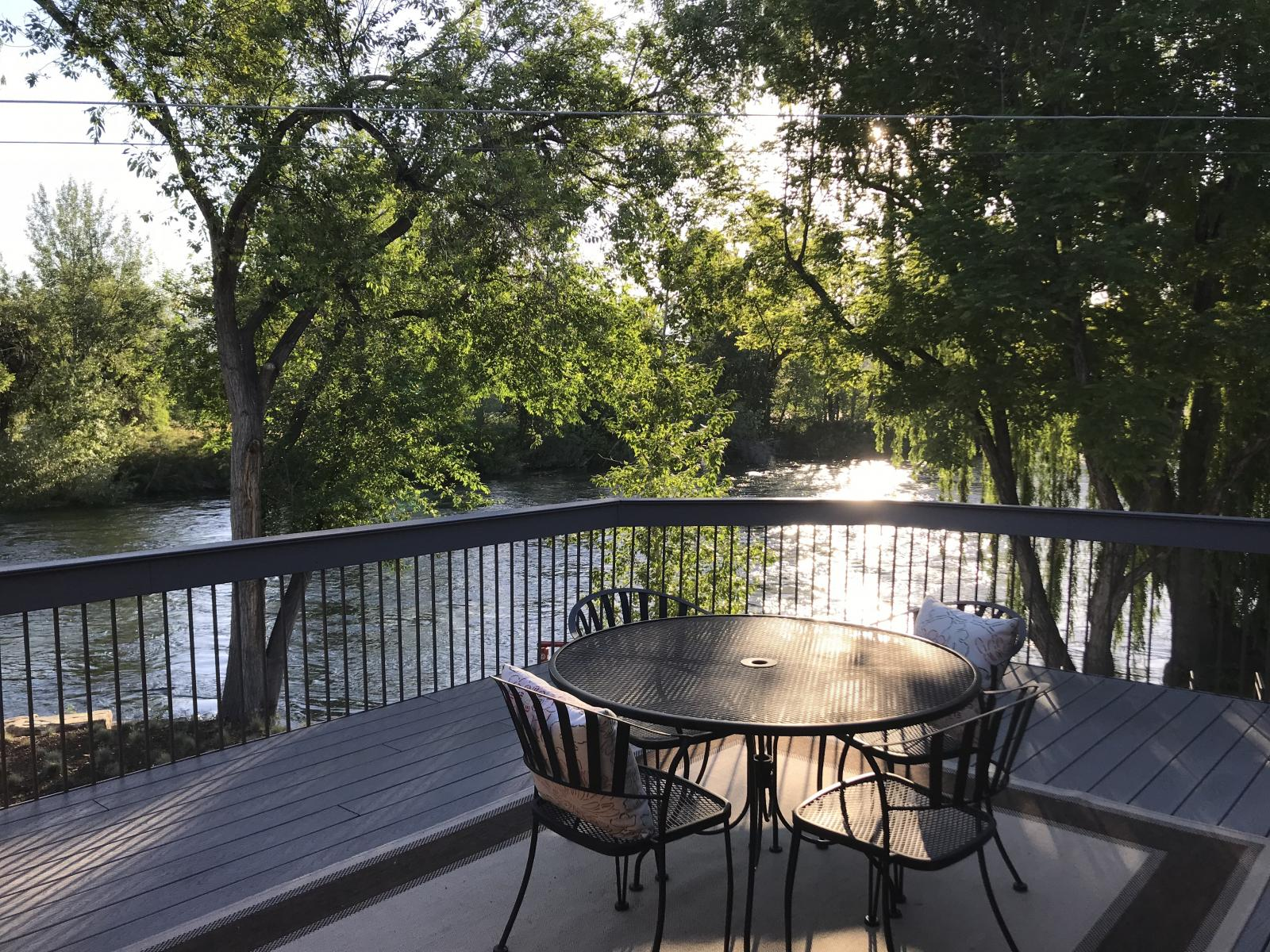 Beautiful deck view of the Boise River at the fabulous Riverside Inn