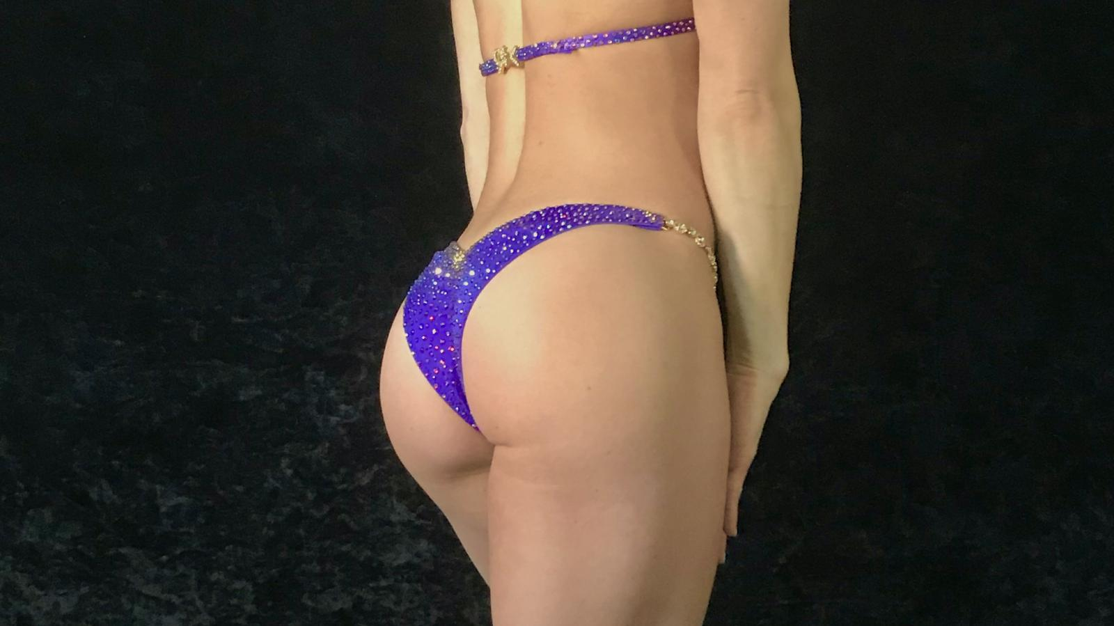 Grape Purple Bikini Competition Suit by Merry Christine Bodywear (side view)