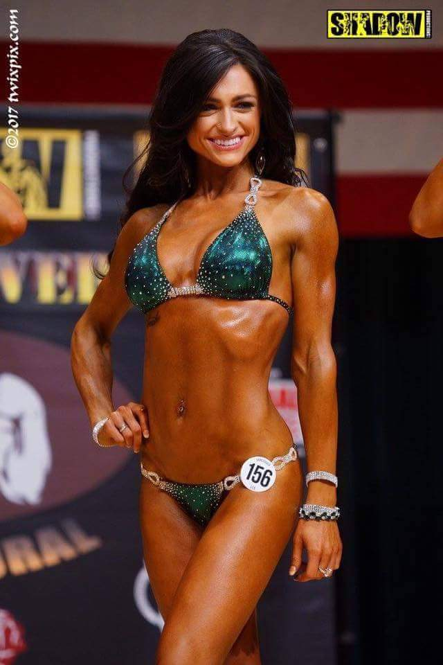 Christina Hansen (now Ettedgui) won her class in bikini in a Merry Christine Bodywear competition su