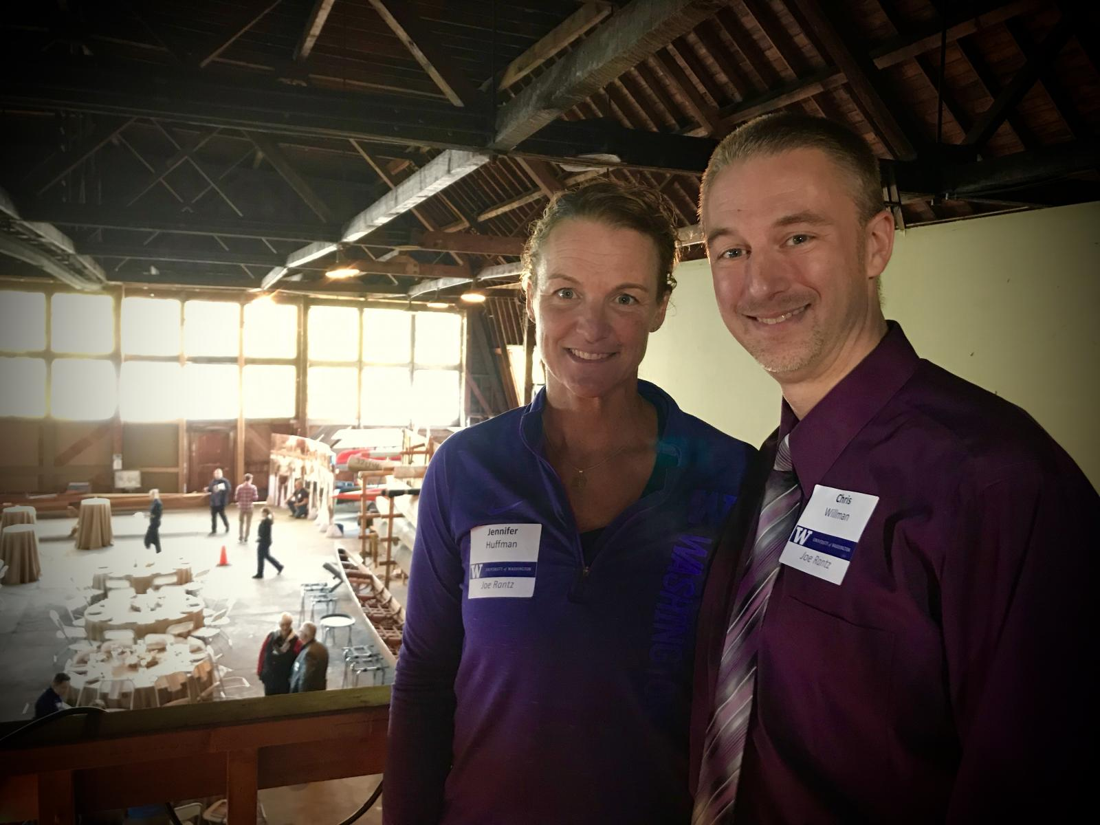 Jennifer Huffman and Chris Willman in the University of Washington crew boat house at the Boys of '36