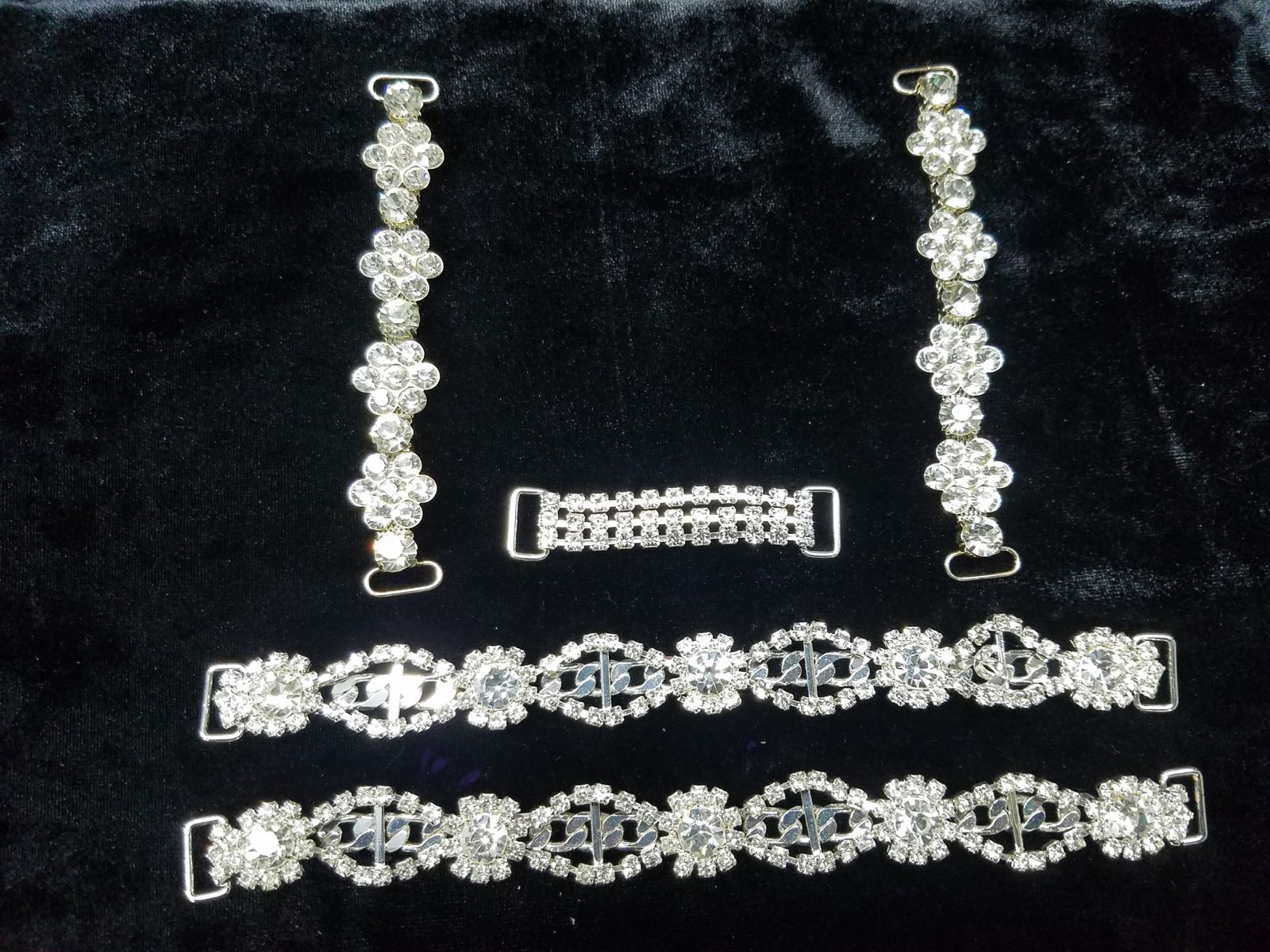 Set H, Silver with clear crystals, $65.00
