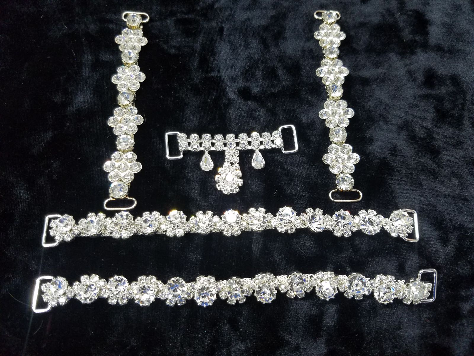 Set M, Silver with clear crystals, $105.00