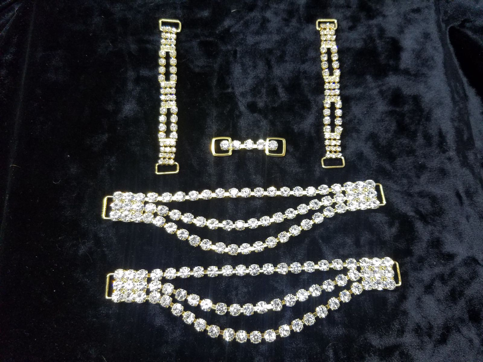 Set K, Gold with clear crystals, $65.00