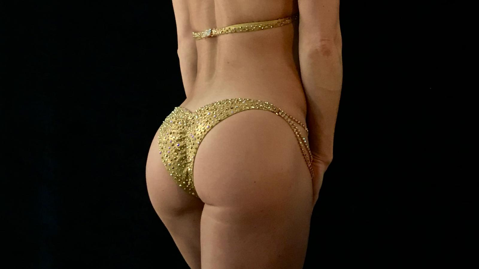 Egyptian Gold Galaxy Bikini Competition Suit by Merry Christine Bodywear (back view)