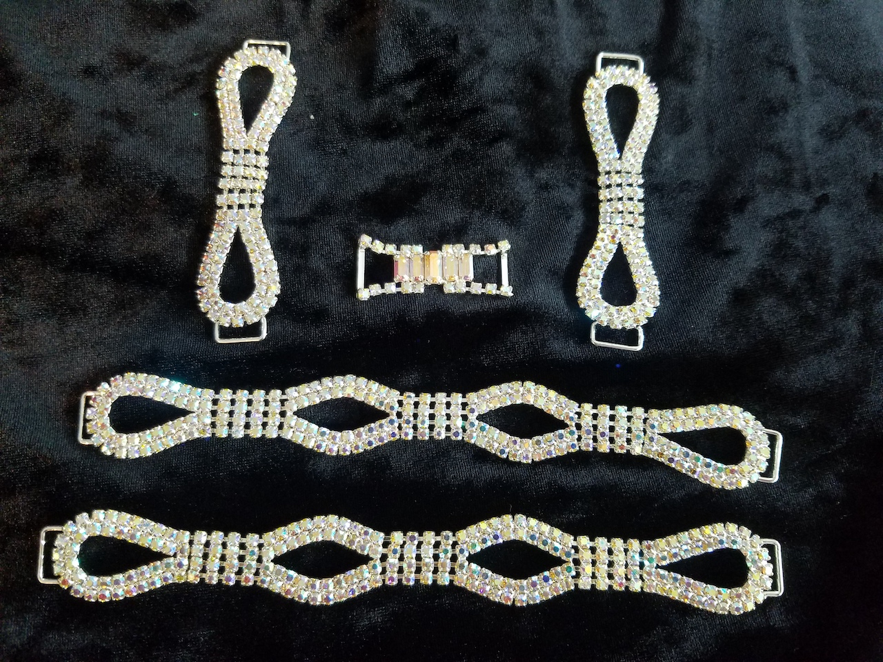 Set D, Silver with clear aurora borealis crystals, $85.00