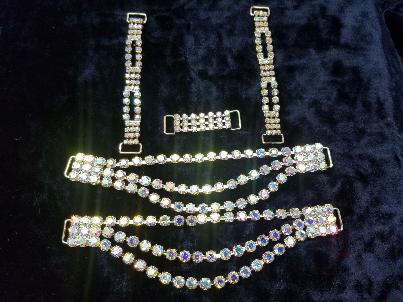 Set K, Gold with clear aurora borealis crystals, $65.00