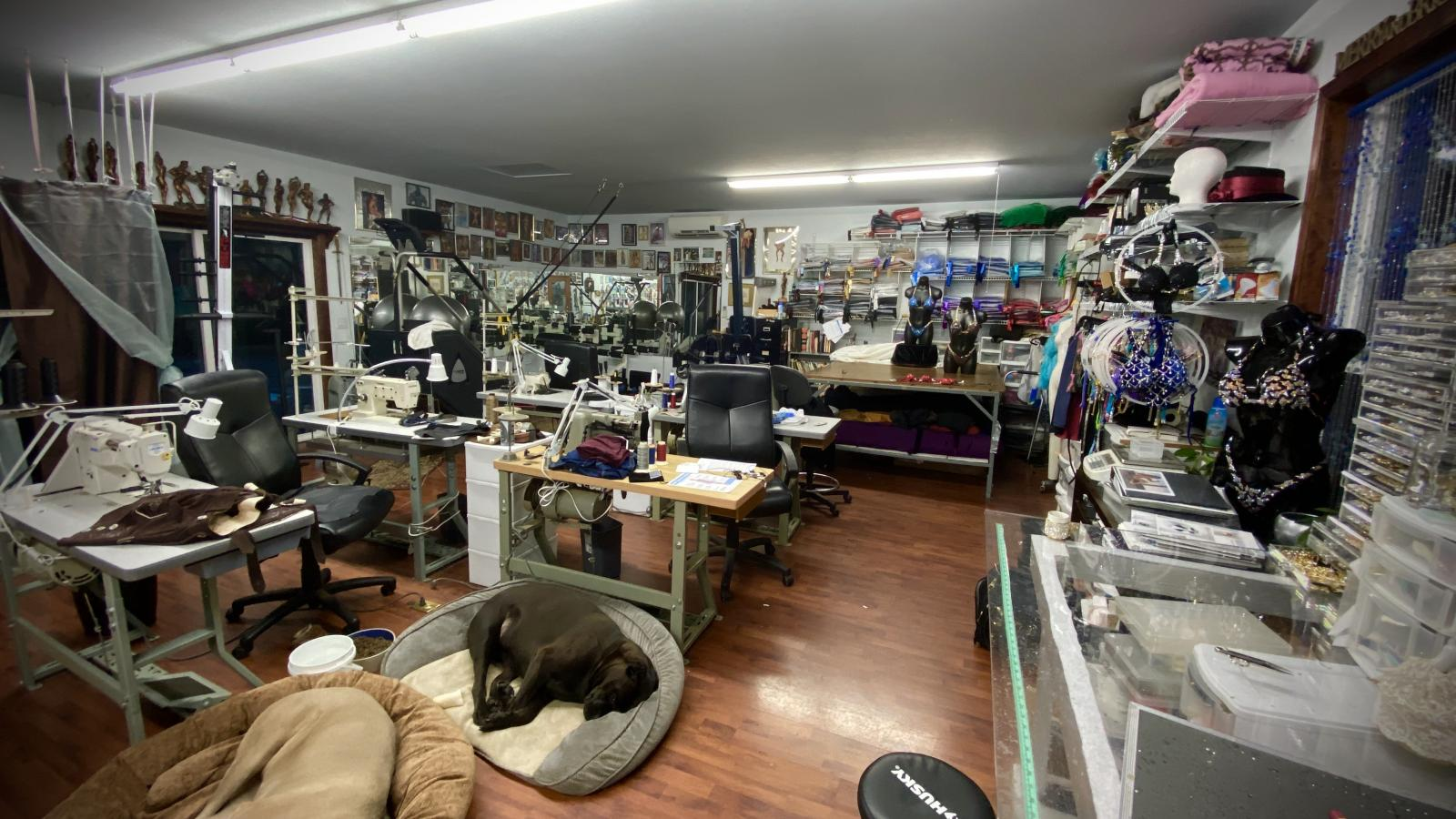 The shop at Merry Christine Bodywear where the competition suits are created!