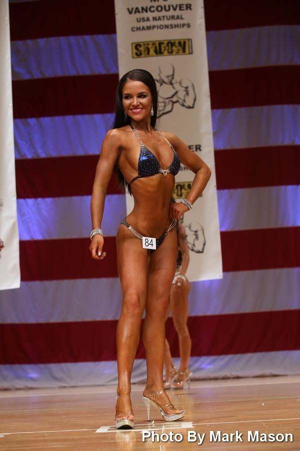 Savannah Clendenen in a Merry Christine Bodywear bikini competition posing suit