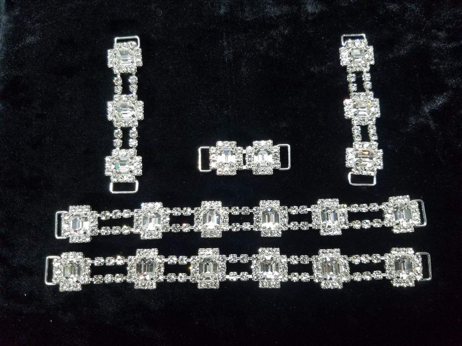 Set I, Silver with clear crystals, $85.00