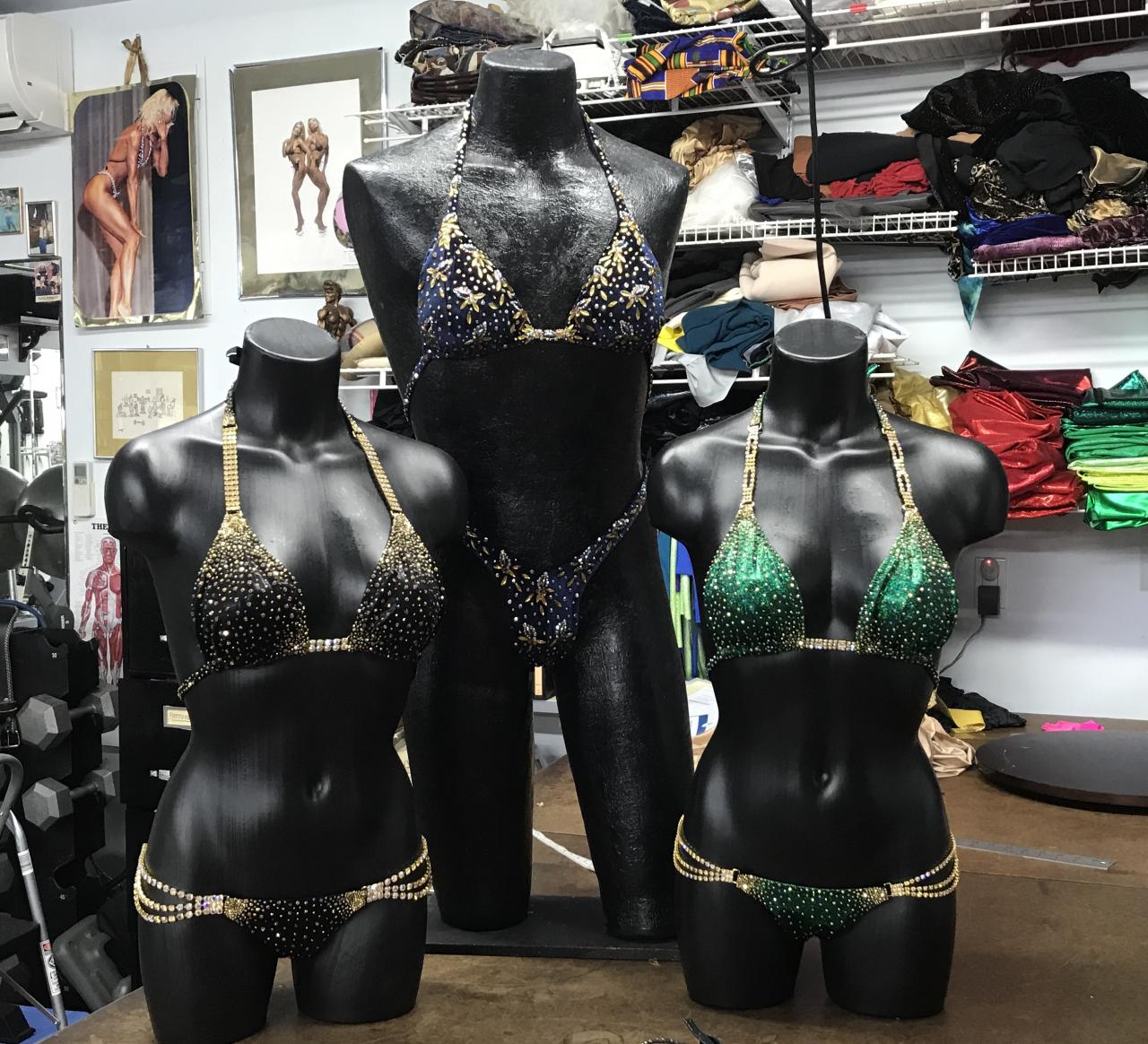 Three recently finished couture suits.