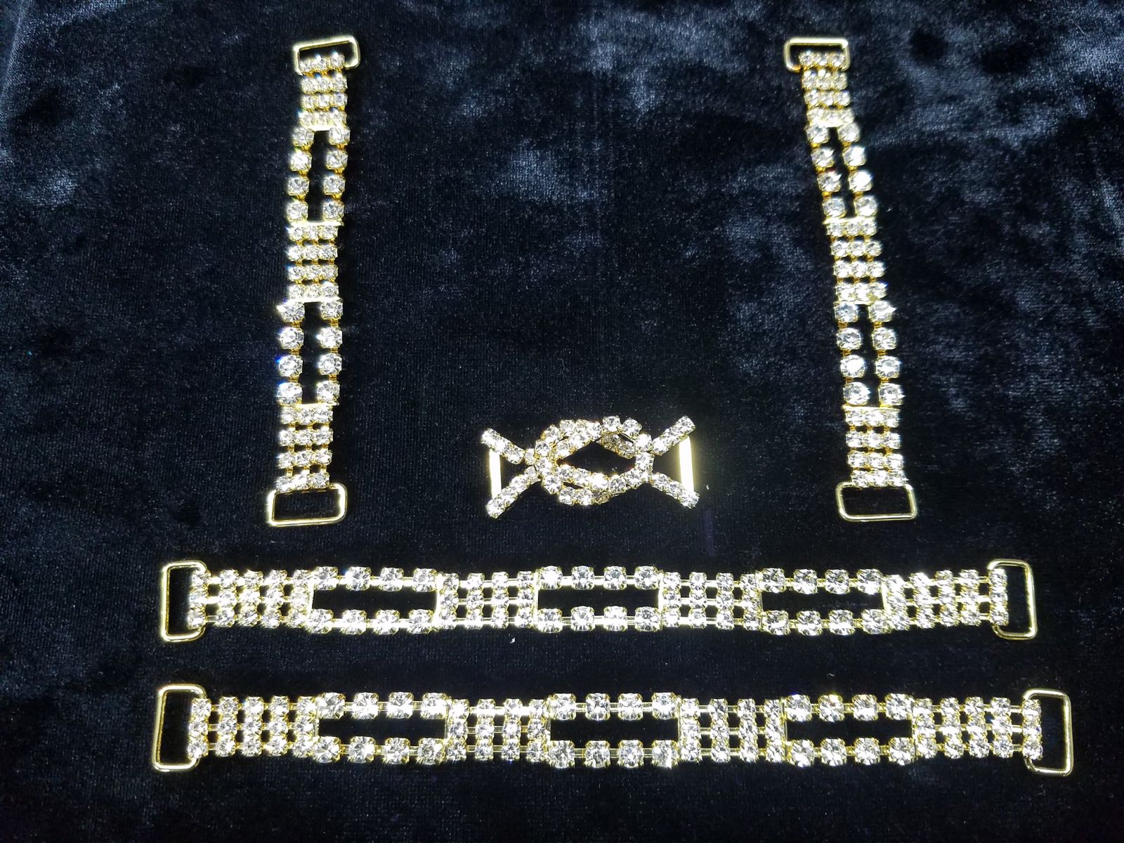 Set F, Gold with clear crystals, $45.00