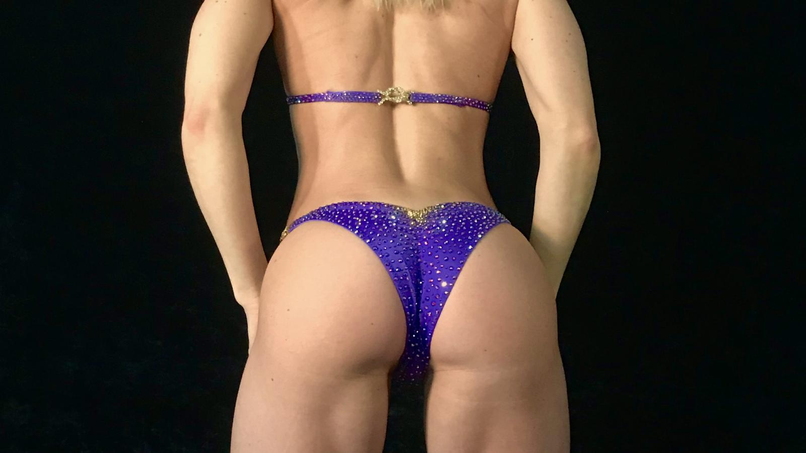 Grape Purple Bikini Competition Suit by Merry Christine Bodywear (back view)