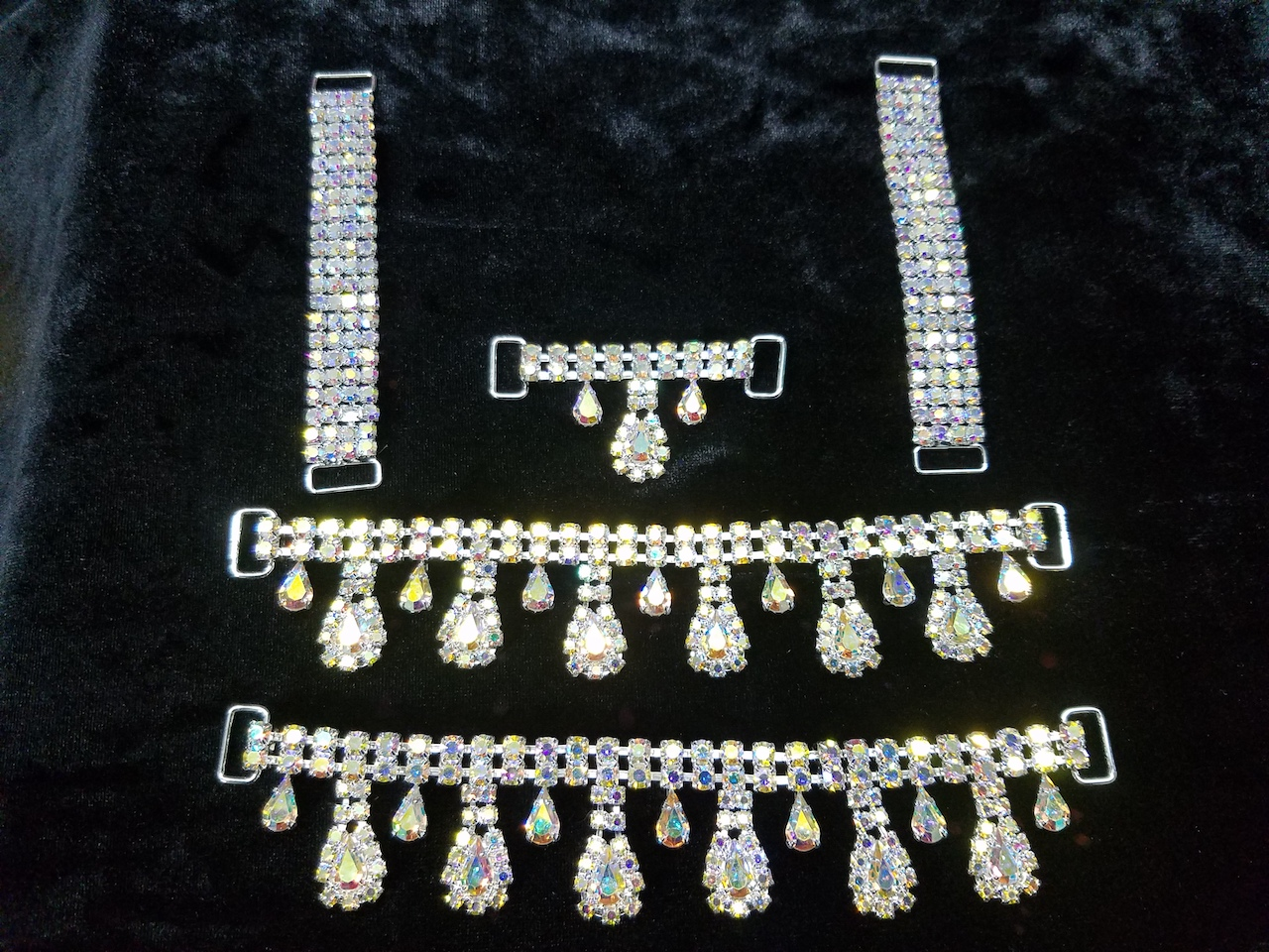 Set B, Silver with clear aurora borealis crystals, $85.00