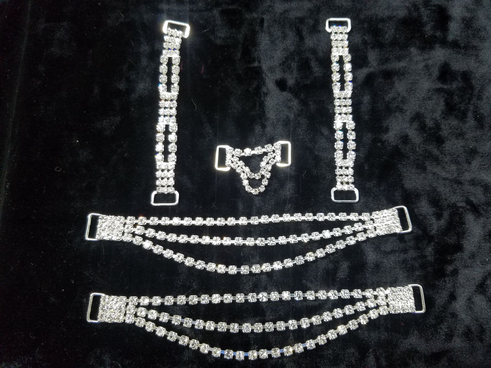 Set J, Silver with clear crystals, $45.00